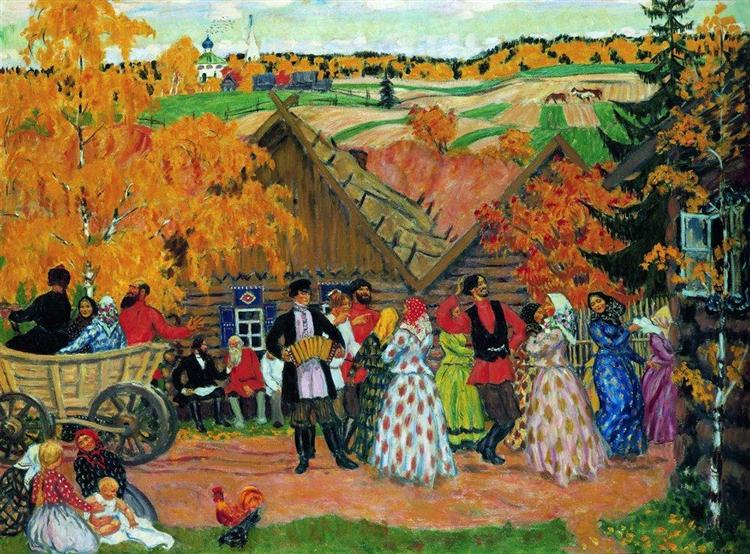 7. Village Holiday (Autumn Holiday in the Village) painting by Boris Kustodiev (1914)