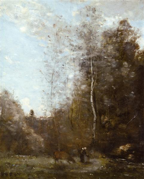 A Cow Grazing beneath a Birch Tree, c.1860 - c.1870 - Jean-Baptiste Camille Corot