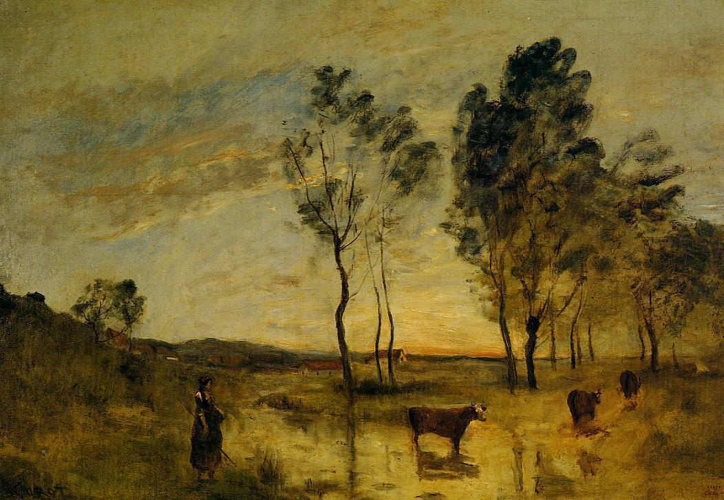 Le gue cows on the banks of the gue camille corot for Camille corot