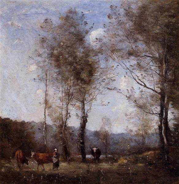 Ville d'Avray, Cowherd in a Clearing near a Pond, 1871 - 1872 - Jean-Baptiste Camille Corot
