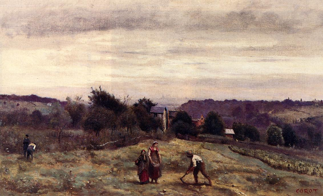 Ville d'Avray the Heights Peasants Working in a Field, c ...