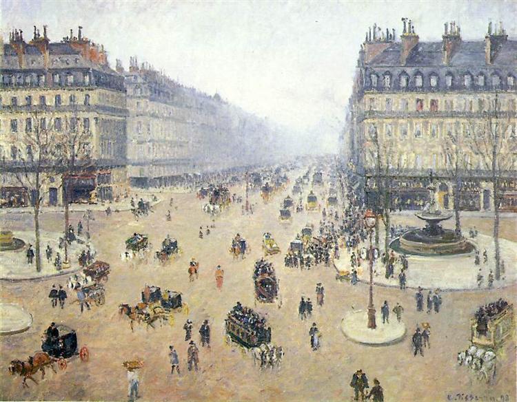 Avenue de l'Opera, Place du Theatre Francais. Misty - Camille Pissarro