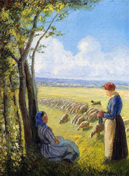 Shepherdesses, c.1887 - Camille Pissarro
