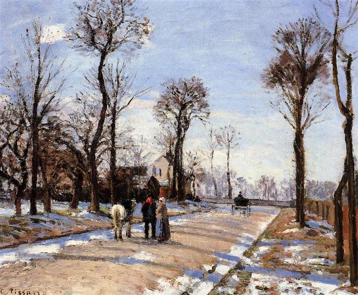 Street Winter Sunlight and Snow, c.1872 - Camille Pissarro