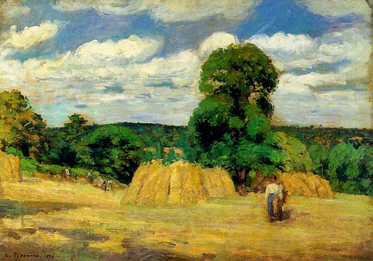 The Harvest at Montfoucault, 1876 - Camille Pissarro ...