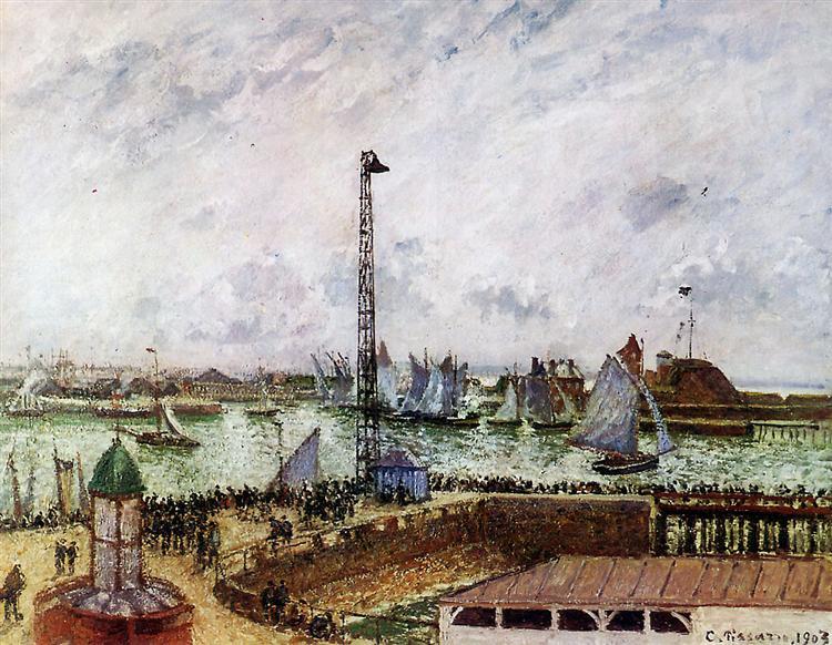The pilot's jetty, Le Havre, 1903 - Каміль Піссарро
