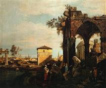 Capriccio con rovine e Porta Portello a Padova - Canaletto