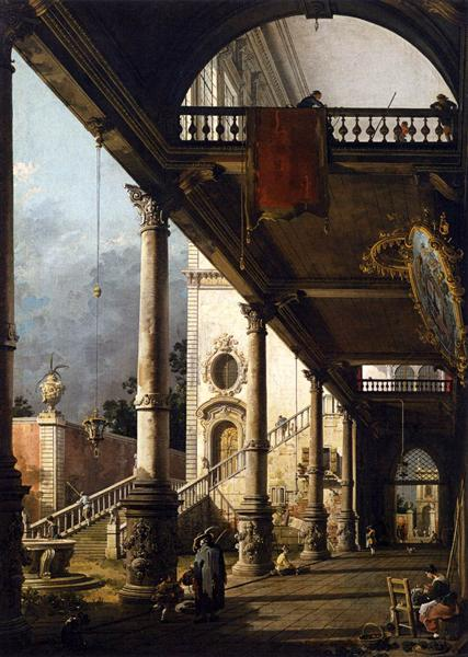 Perspective View with Portico - Giovanni Antonio Canal