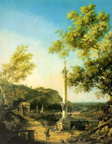 River Landscape with a Column - Giovanni Antonio Canal