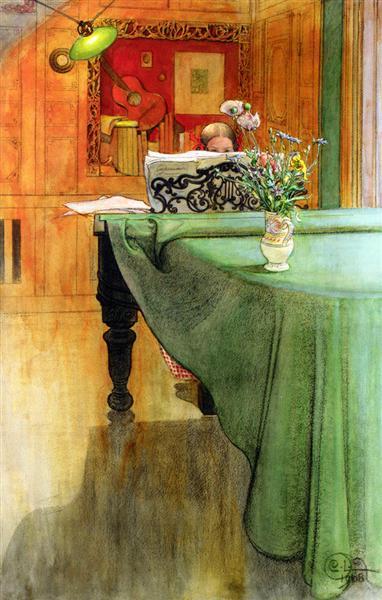 Brita at the Piano, 1908 - Carl Larsson