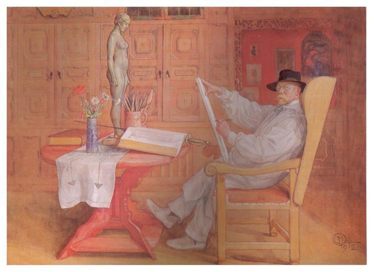 Self Portrait in the Studio, 1912 - Carl Larsson