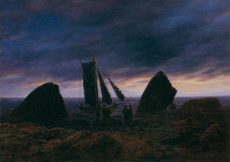 Fishing boat between two rocks on the beach of the Baltic Sea, 1830 - Caspar David Friedrich