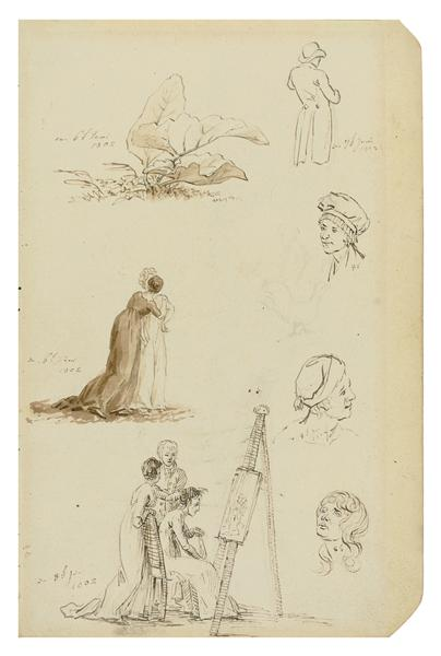 Study of heads, figures, and foliage, 1802 - Caspar David Friedrich