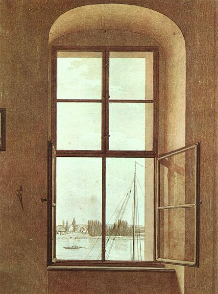 View from the Artists Studio, Window on Left - Caspar David Friedrich