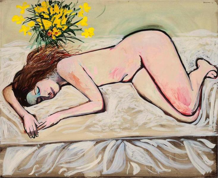 Untitled (Nude with Flowers), 1971 - Charles Blackman