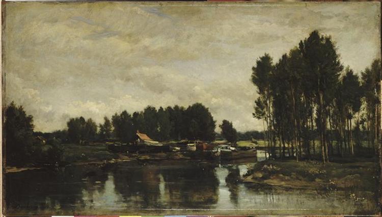 Boats on the Oise, 1865 - Charles-Francois Daubigny