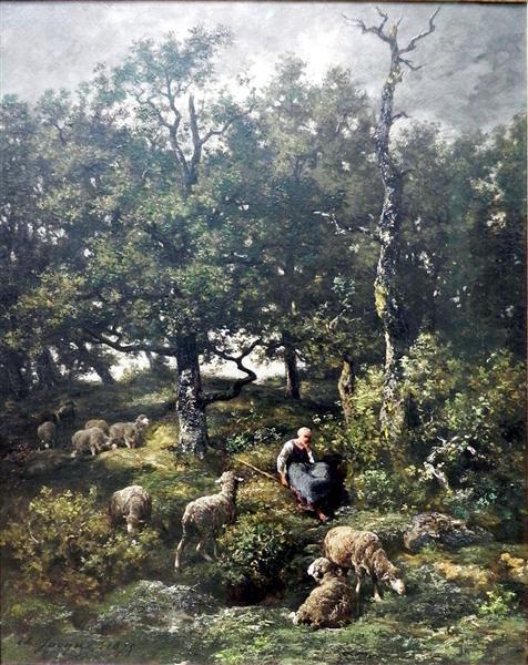 Schäferin mit Herde - Charles Jacque
