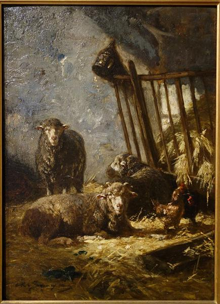 Sheep in Manger - Charles Jacque