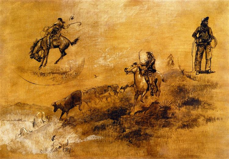 Bronco Busting. Driving In, 1889 - Charles M. Russell