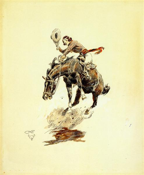 Bucking Horse and Cowgirl, 1925 - Charles Marion Russell