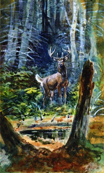 Deer in the Dell, 1909 - Charles M. Russell
