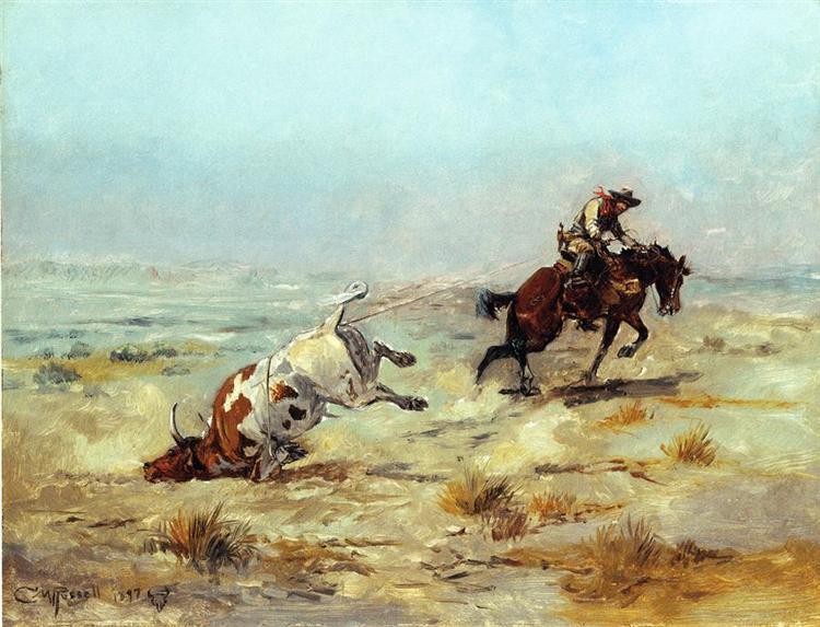 Lassoing a Steer, 1897 - Чарльз Марион Рассел
