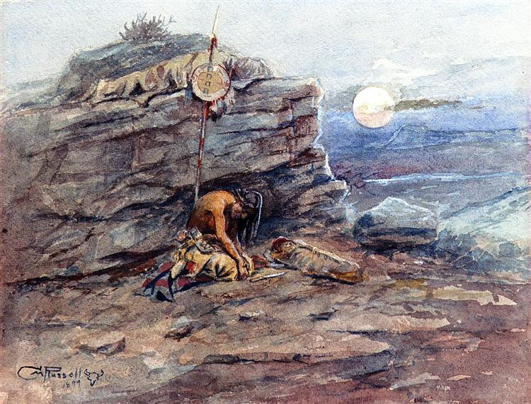 Mourning Her Warrior Dead, 1899 - Charles M. Russell