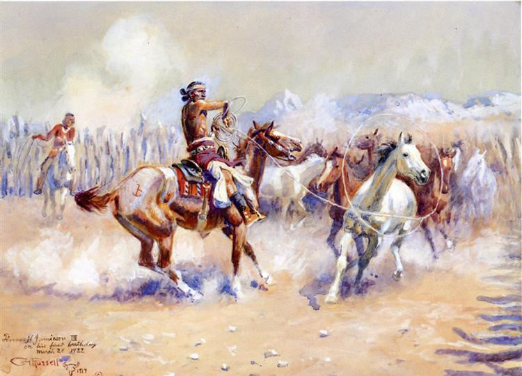 Navajo Wild Horse Hunters, 1911 - Charles Marion Russell