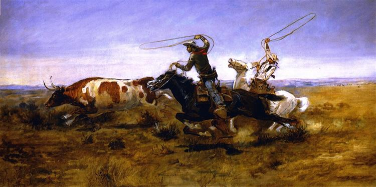 OH Cowboys Roping a Steer, 1892 - Charles M. Russell