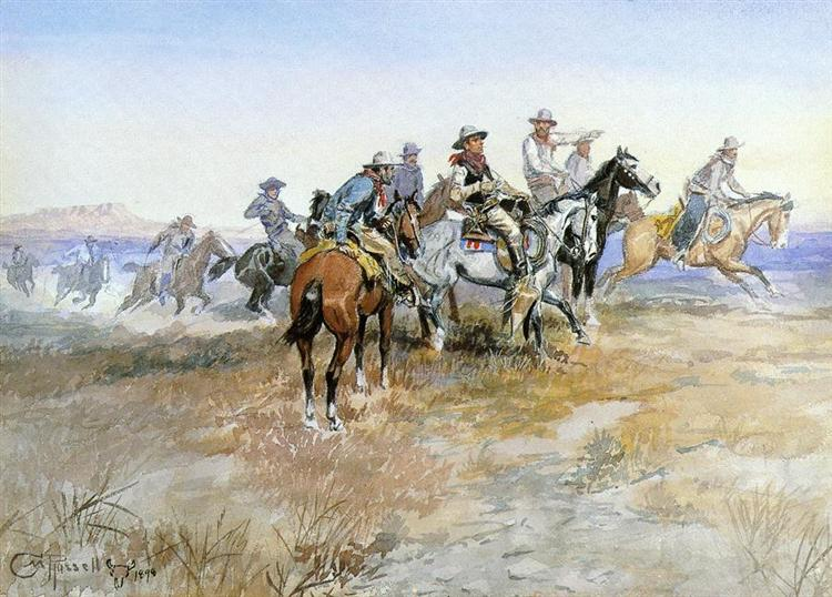 Start of Roundup, 1898 - Charles M. Russell