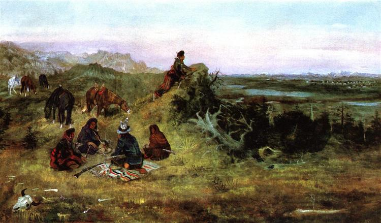 The Piegans Preparing to Steal Horses from the Crows, 1888 - Чарльз Маріон Рассел