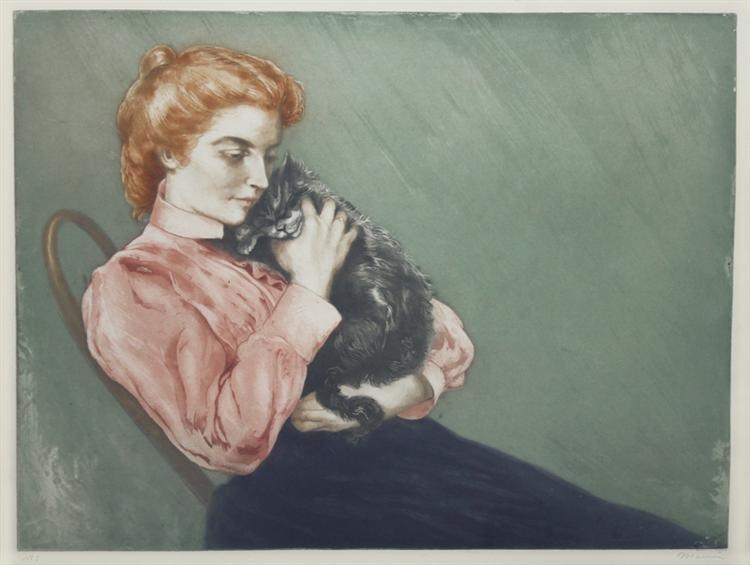 Jeune Femme Au Chat - Charles Maurin