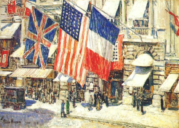 Across the Avenue in Sunlight, June, 1918 - Childe Hassam