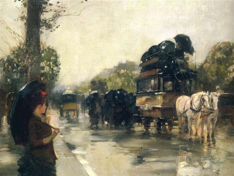 April Showers, Champs Elysees Paris, 1888 - Childe Hassam