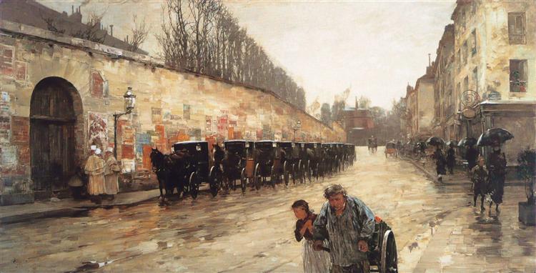 Cab Station, Rue Bonaparte, 1887 - 柴爾德.哈薩姆