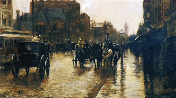 Columbus Avenue Rainy Day, 1885 - Childe Hassam