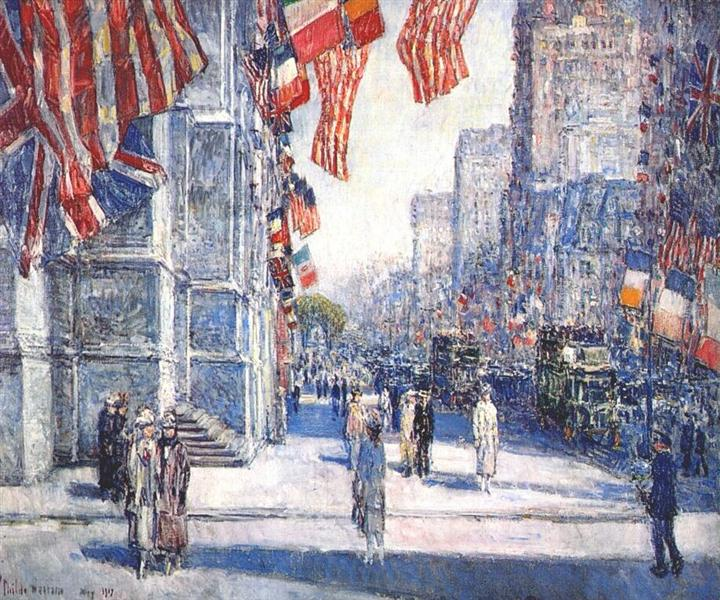 Early morning on the avenue in May, 1917 - Childe Hassam