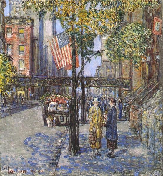Flags on the friar's club, 1918 - Childe Hassam