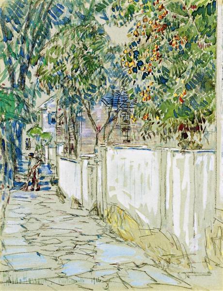 Flagstone Sidewalk, Portsmouth, New Hampshire, 1916 - Childe Hassam