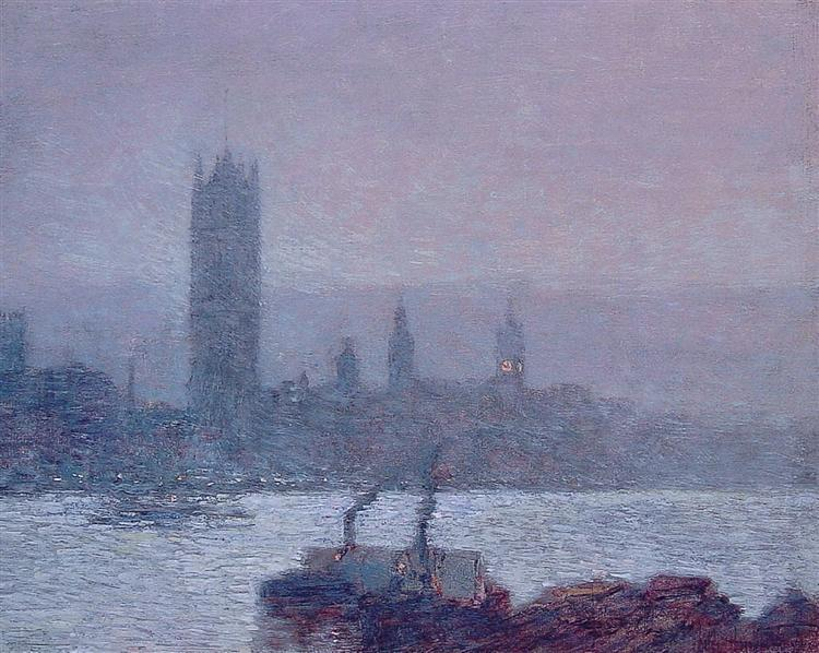 Houses of Parliament, Early Evening, 1898 - Childe Hassam