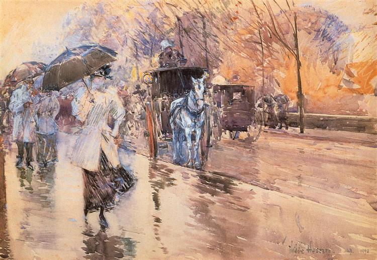 Rainy Day on Fifth Avenue - Hassam Childe