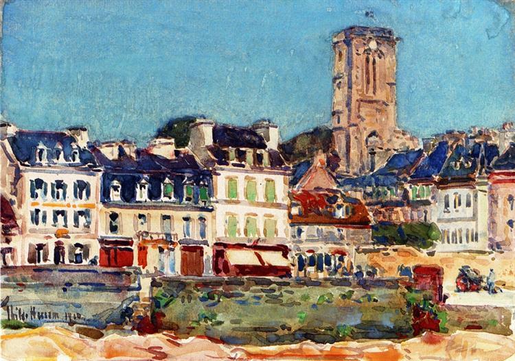 The Quai, Lannion, 1910 - Childe Hassam