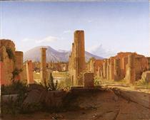 The Forum, Pompeii, with Vesuvius in the Distance - Christen Købke