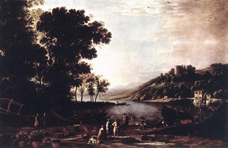 Landscape with Merchants, c.1630 - Claude Lorrain