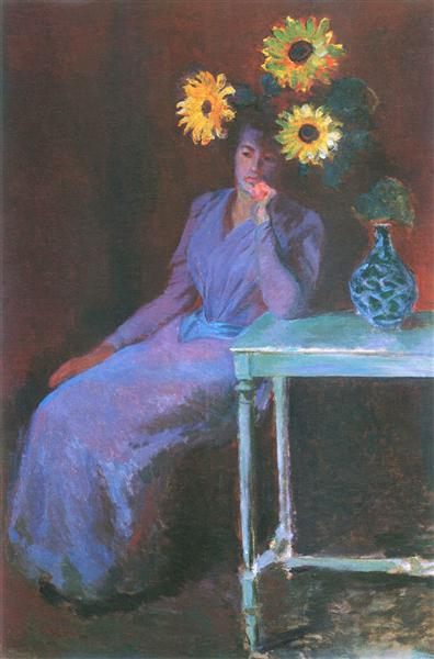 Portrait of Suzanne Hoschede with Sunflowers, 1890 - Claude Monet