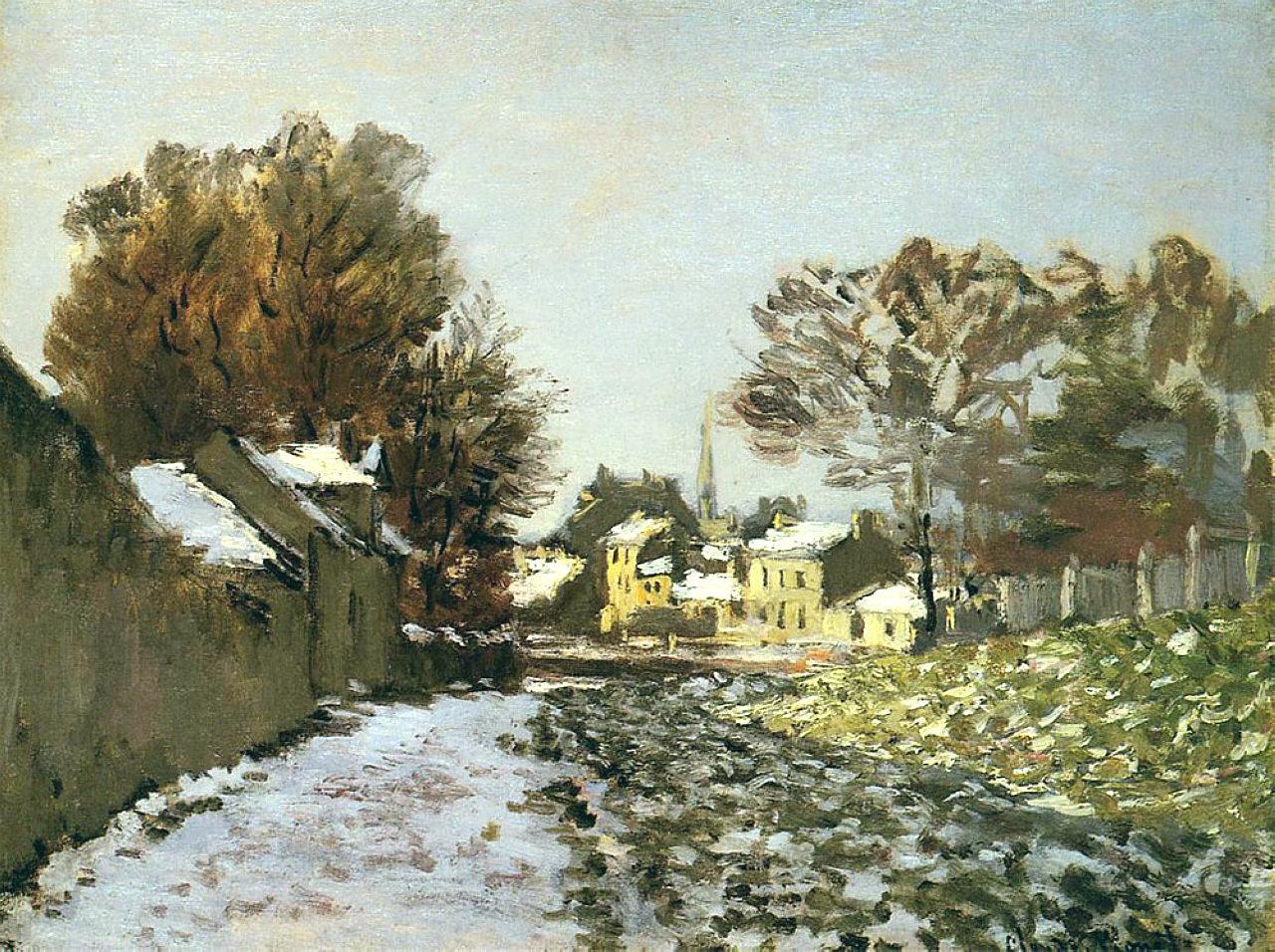 Impressionism Monet Sunrise Snow at Argenteuil, 18...