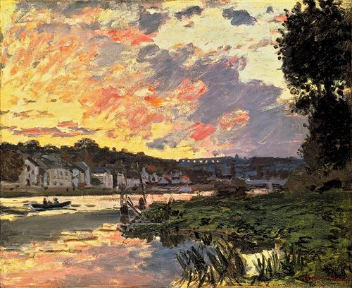 The Seine at Bougival in the Evening - Claude Monet