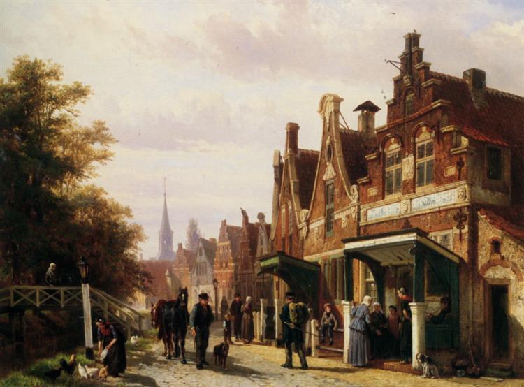 Street scene with figures, 1871 - Cornelis Springer