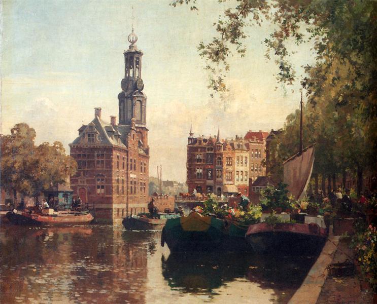 The Flowermarket On The Singel, Amsterdam, With The Munttoren Beyond, 1927 - Корнеліс Вреденбург