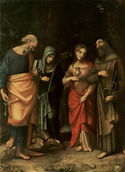 Four Saints (from left St. Peter, St. Martha, St. Mary Magdalene, St. Leonard) - Correggio